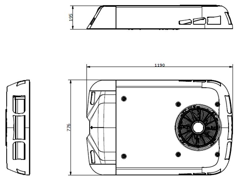 Кондиционер MCC EcoFlex4E накрышный моноблок 4kW 24V Чертёж габаритных размеров